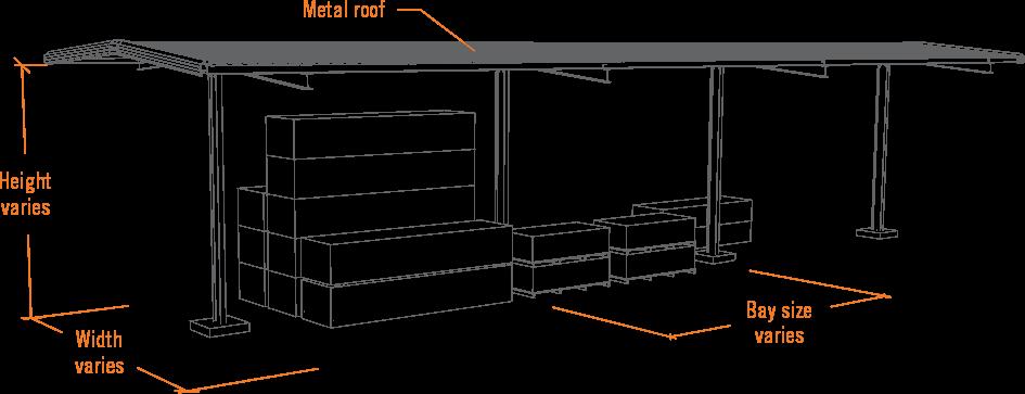 umbrella shed for bulk lbm storage