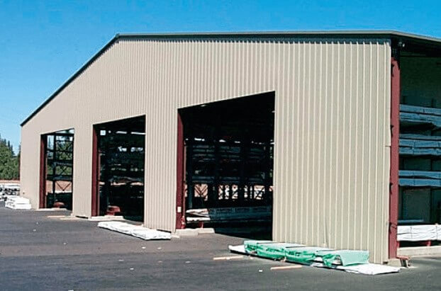 covered storage building for lbm materials with drive-thru capabilities