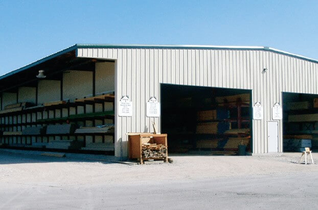 double-aisle drive-thru shed for lbm storage