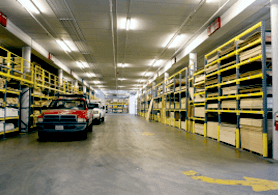 enclosed storage with racks for building materials