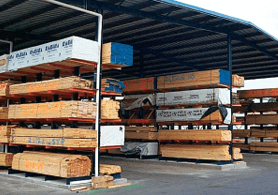 covered storage for building materials with drive thru capabilities