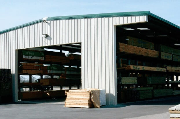 covered storage for lbm materials with drive-thru capabilities