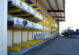 single-aisle drive-thru buildings providing covered storage for building materials and lumber