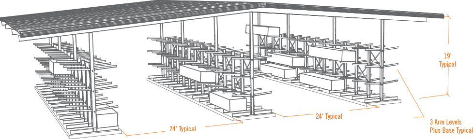 design of typical drive thru building with two aisles